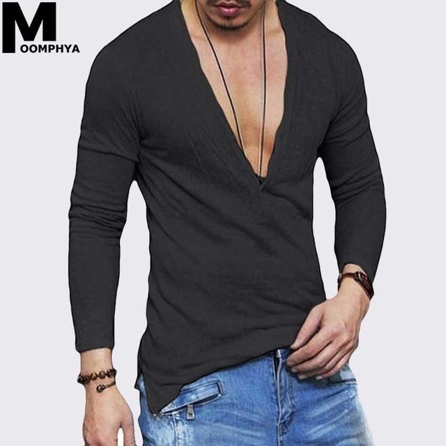 386ce0ee722a Moomphya 2019 New Deep V-Neck Men t shirt Stylish streetwear long sleeve t  shirt men hip hop tshirt Ultrathin funny t-shirts