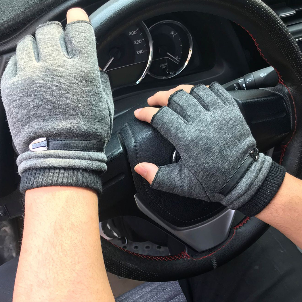 Unisex Winter Gloves Women Men Fleece Warm Half Finger Gloves Stretch Fingerless Mittens For Outdoor Bicycle Driving Gloves