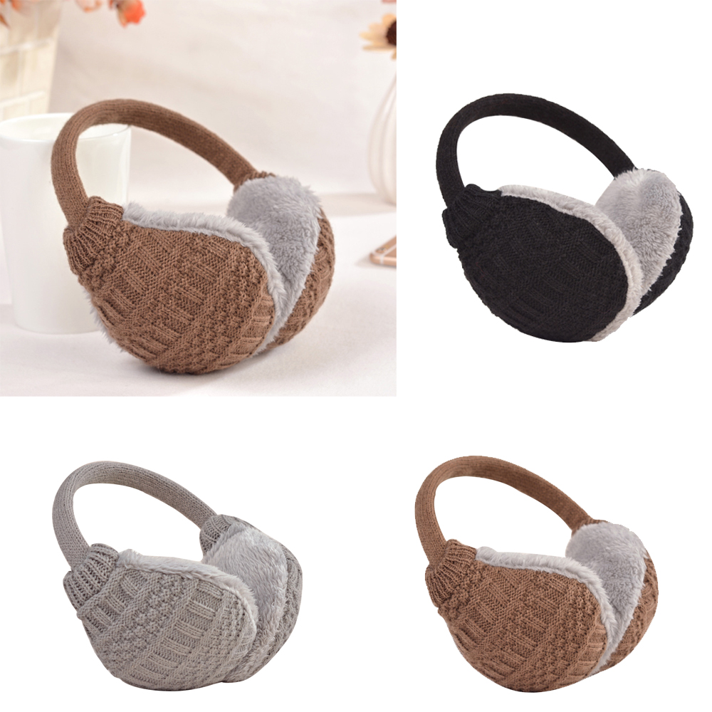 Unisex Knit Winter Earmuffs Furry Ear Warmer Ear Covers Detachable To Wash For Outdoor Sports