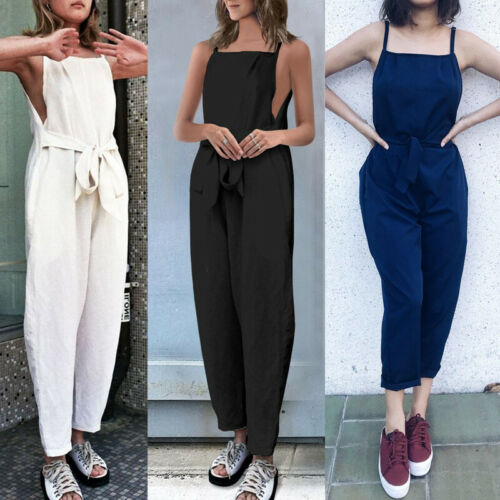 Fine Sling 2019 New Sexy Women Jumpsuit Solid Off Shoulder Sleeveless Casual Loose   Rompers   Bodysuit Fashion Party Streetwear