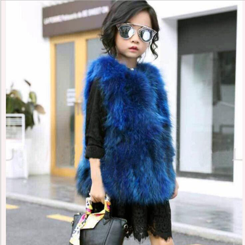 New Children's Real Raccoon Fur Vest Girls Autumn Winter Thick Warm Long Fur Outerwear Vest Kids Solid O-Neck Vests V# 26