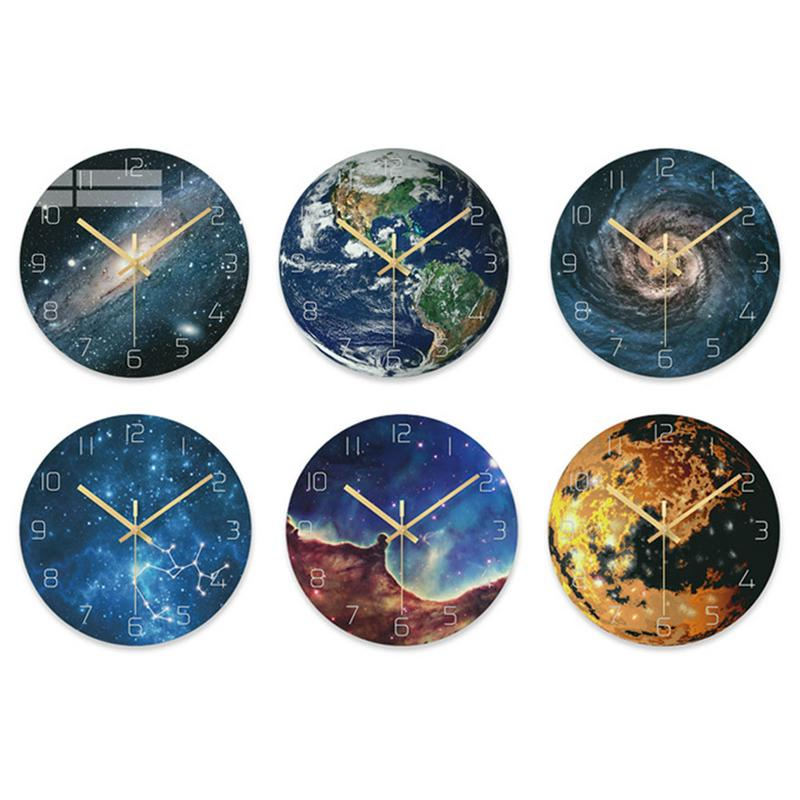 1Pcs Planet Wall Clock Astronomy Home Decor Modern 3D Wall Decoration Wall Clock
