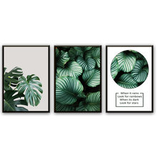 Minimalist Tropical Fresh Leaf Posters and Prints Wall Art Canvas Painting Pictures For Living Room Nordic Monstera Home Decor(China)