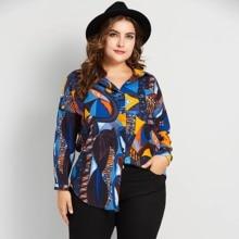 9169080e49f8cd Plusee Plus Size Women Blouse Shirt Geometric Print Korean Fashion High  Street Top Loose Soft Lady