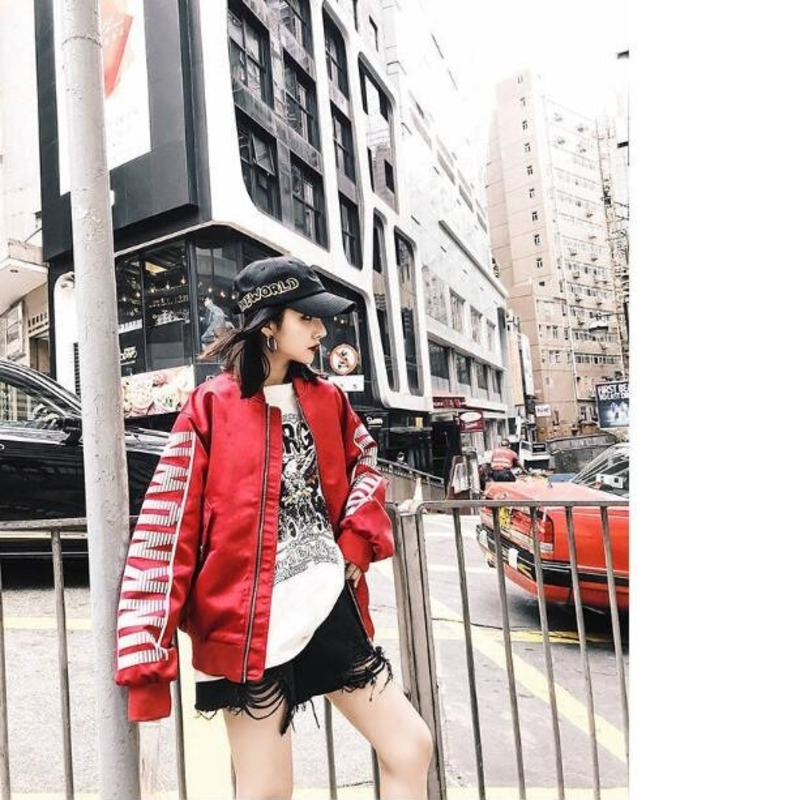 5602 Spring Autumn 2019 Baseball Jacket Women Japanese Windbreaker Jacket Hip Hop Loose Bomber Coat Woman Harajuku Streetwear in Jackets from Women 39 s Clothing