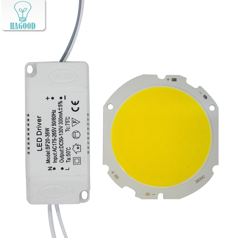 1pcs LED COB Lamp Bead 10W-30W Light Source Chip+LED Driver Power Supply Adapter Cold/Warm/Natural White for diy LED Spot light