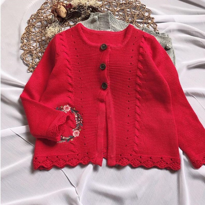 2018 Autumn baby Girls Sweater For Girls Cardigan Red Embroidery Flower Girls Christmas clothes Children New year costume2018 Autumn baby Girls Sweater For Girls Cardigan Red Embroidery Flower Girls Christmas clothes Children New year costume