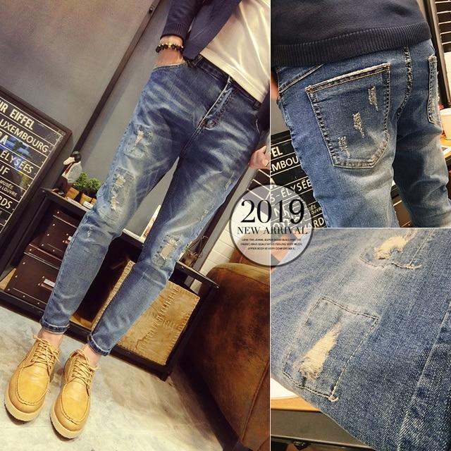 b5792a250c Los hombres de los pantalones vaqueros verano 2019 nueva Pantalones slim  algodón casuales simple personalidad nueve punto jóvenes desgaste