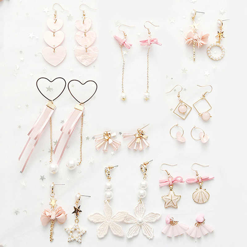Tassel Dangle Earring Pink Japan And South Korea Acrylic Online Sensation 17 Colors Simulation Pearl Bow 1Pair