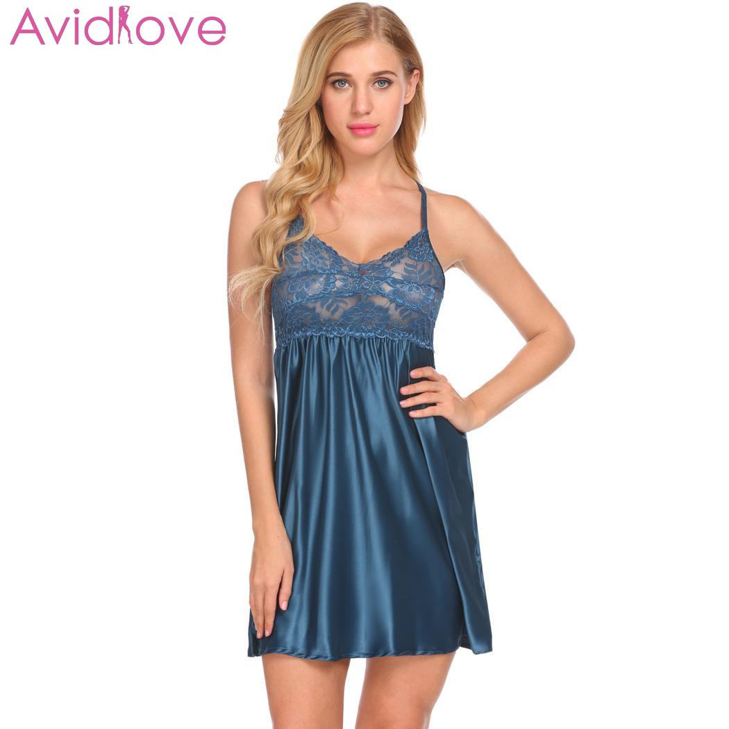 10d4ce923bc Avidlove Women Sexy Lingerie Nightgown Lace Satin Sleepwear Sexy Underwear  V-Neck Babydoll Chemise Nightwear Home Clothes