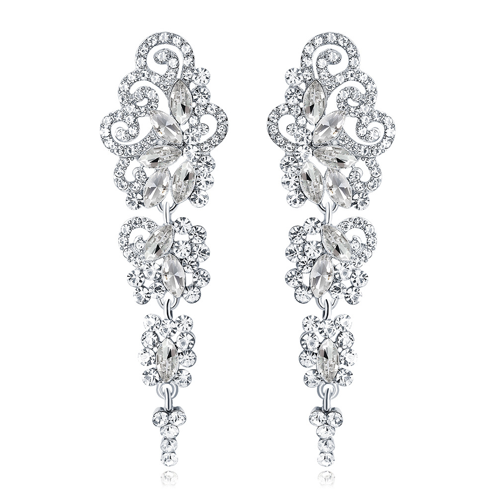 Classic Long Drop Earrings for Wedding Bride Earrings Alloy Empire Style Rhinestone Earrings Hot Openwork Lace Pattern Earrings