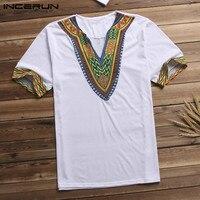 Dashiki Arab T shirt Men T Shirt V Neck Short Sleeve Tribal Succinct Camisa Hombre African Streetwear Men Clothes S 5XL Shirts