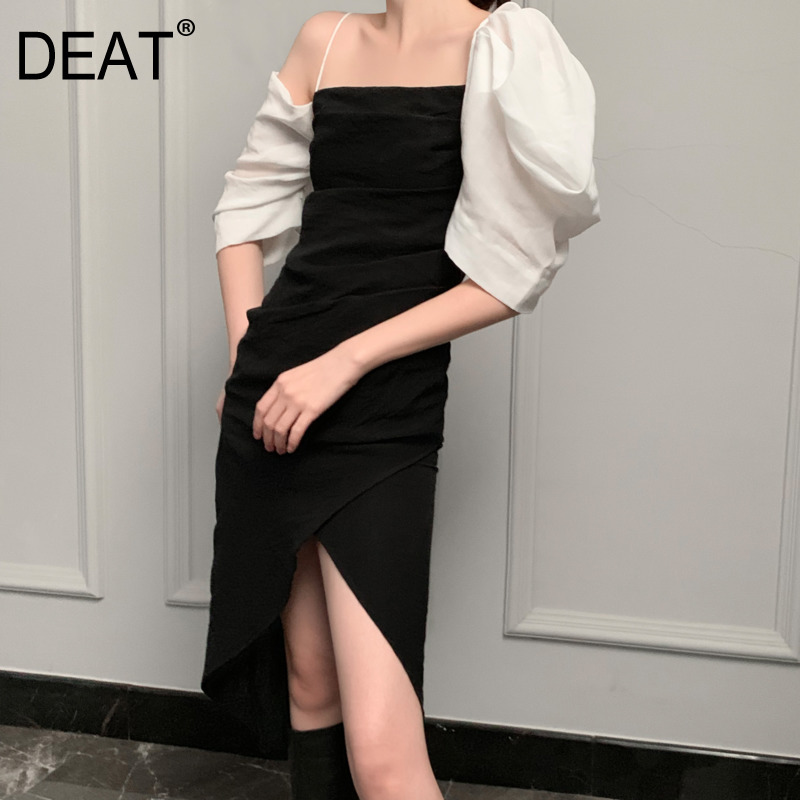 DEAT 2019 new summer fashion off the shoulder puff sleeves pleated high waist asymmetrical dress thin