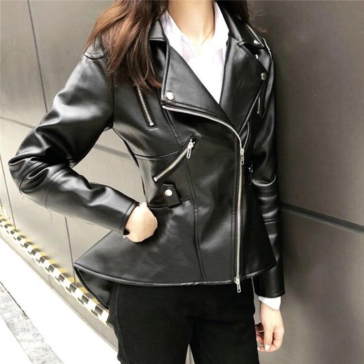 Autumn Black Gold Motorcycle Coat Women Fashion Slim Pu Leather Jacket Casual Streetwaer Zipper Biker Jacket