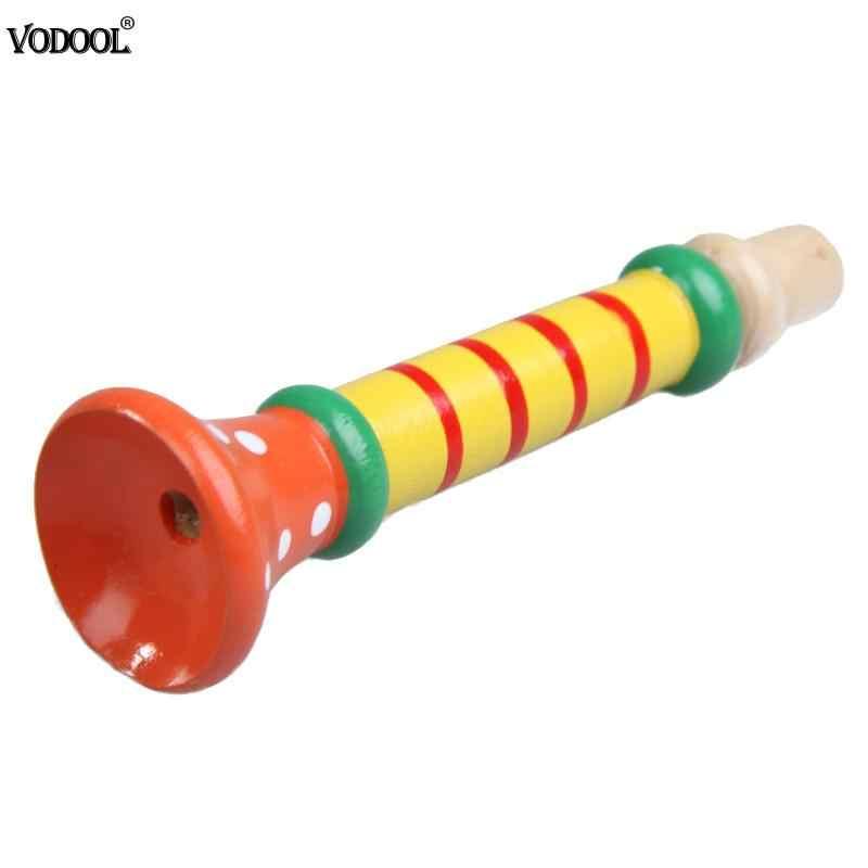 Warna-warni Kayu Terompet Buglet Bunyi Klakson Terompet Musik Pendidikan Mainan untuk Anak-anak Bayi Mainan Kayu Alat Musik Terompet Bunyi Klakson