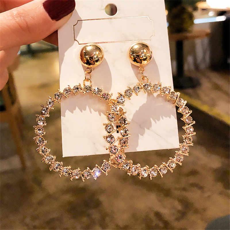 Fyuan Fashion Geometrische Crystal Drop Oorbellen Voor Vrouwen Draad Goud Kleur Bal Rhinestone Dangle Oorbellen Partij Sieraden Geschenken