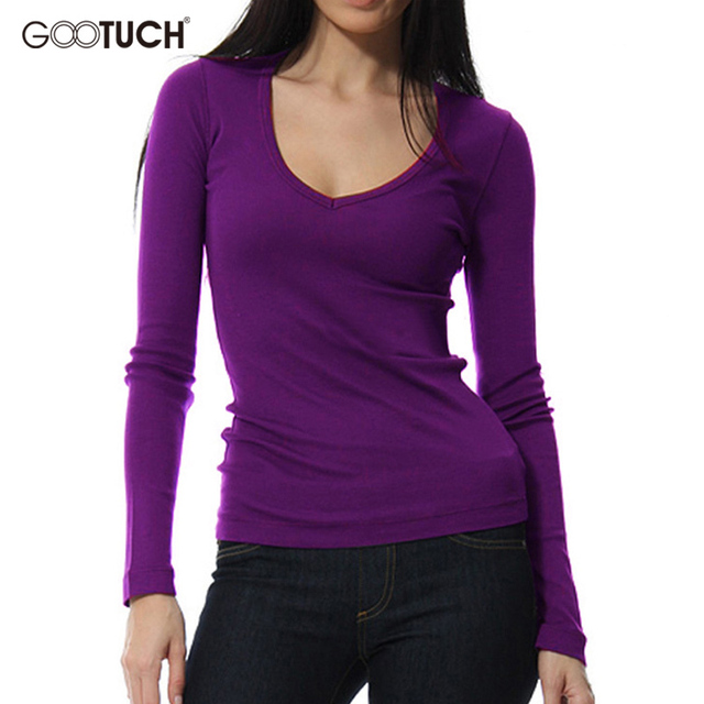 6a8201e794f Womens T-shirt Long Sleeve Modal Undershirt Ladies Sexy Low-Cut Stretch Top  Tees Solid Color European Style Plus Size Shirts 302
