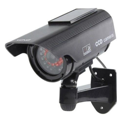 Solar Powered Fake Dummy CCTV Security Surveillance Camera Flashing IR LED BLACKSolar Powered Fake Dummy CCTV Security Surveillance Camera Flashing IR LED BLACK