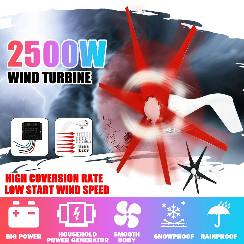 2500W 12V/24V S2 Type 6 Blades Wind Turbines Generator Fit with Wind Controller Gift for Home lights Or Boat Red Black