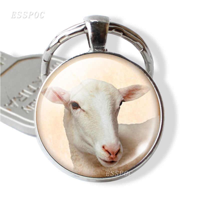 Con hươu cao cổ Lừa Ngựa Vằn Cừu Vòng Ảnh Động Vật Keychain Móc Chìa Khóa Xe Glass Cabochon Đồ Trang Sức Dễ Thương Pet Mặt Dây Chuyền Phụ Nữ Người Đàn Ông Món Quà