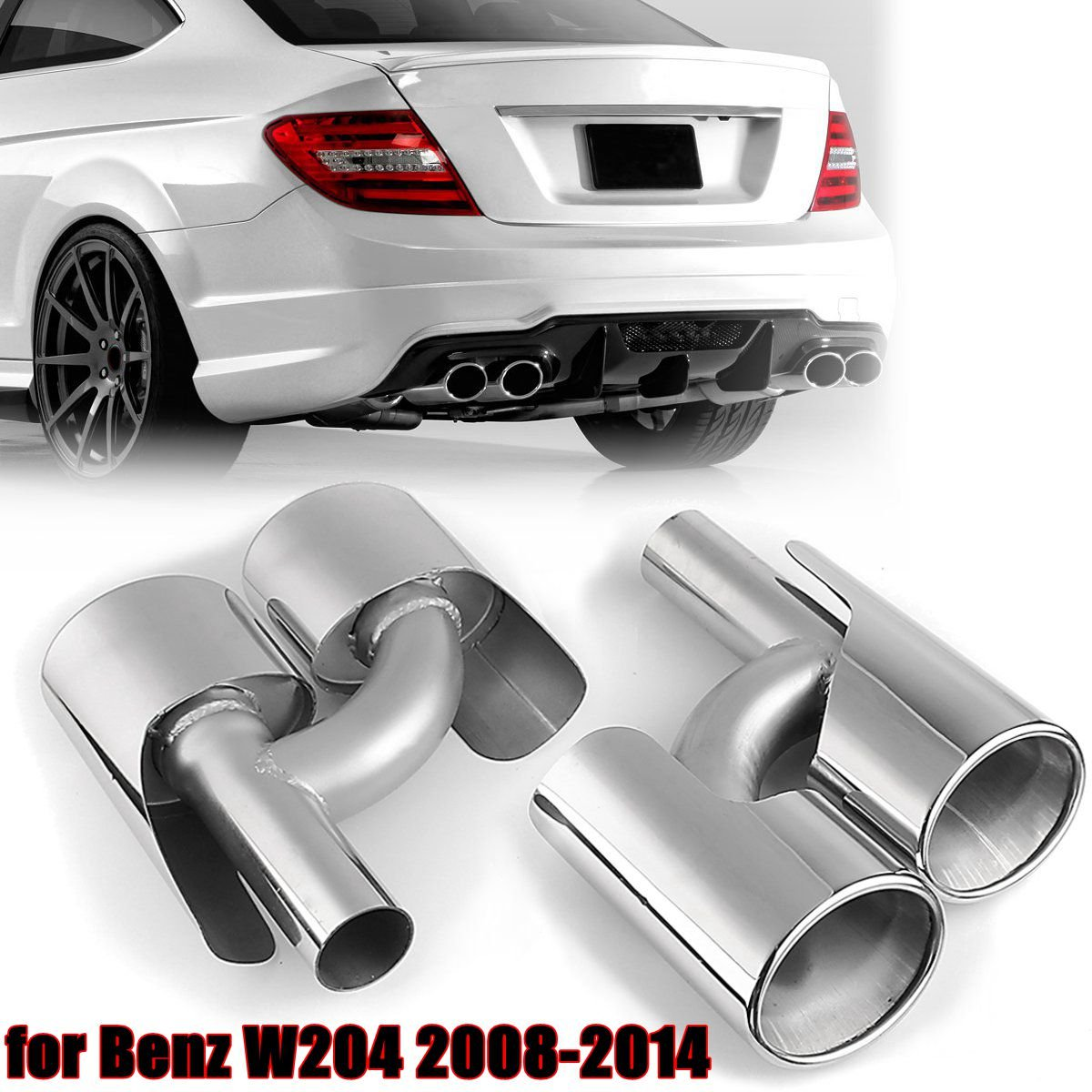 Stainless Steel Car muffler Exhaust pipe Tip 63mm Double End Pipe Tail throat For E63 Merc W204 W212 c63 4 outlet for AMG 06-14 2 5 inch 4 inch 63mm exhaust pipe vertical drum car exhaust pipe exhaust tail pipe refires drum sound stainless steel pipes