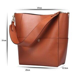 Image 4 - 2020 Women Real Genuine Leather Tote Bag Black Bucket Handbags Female Luxury Famous Brands Ladies Shoulder Brown Bag Designer