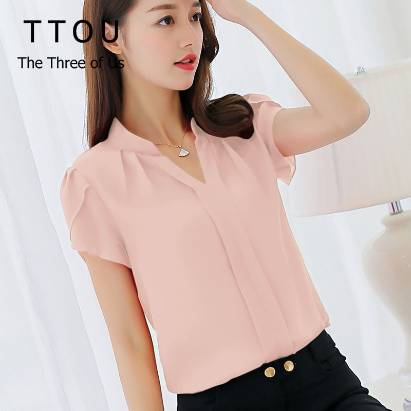 TTOU Women OL Style Shirt Chiffon Blouse Short Sleeve Elegant Ladies Formal Office Blouse Female Casual Tops Plus Size Blusas