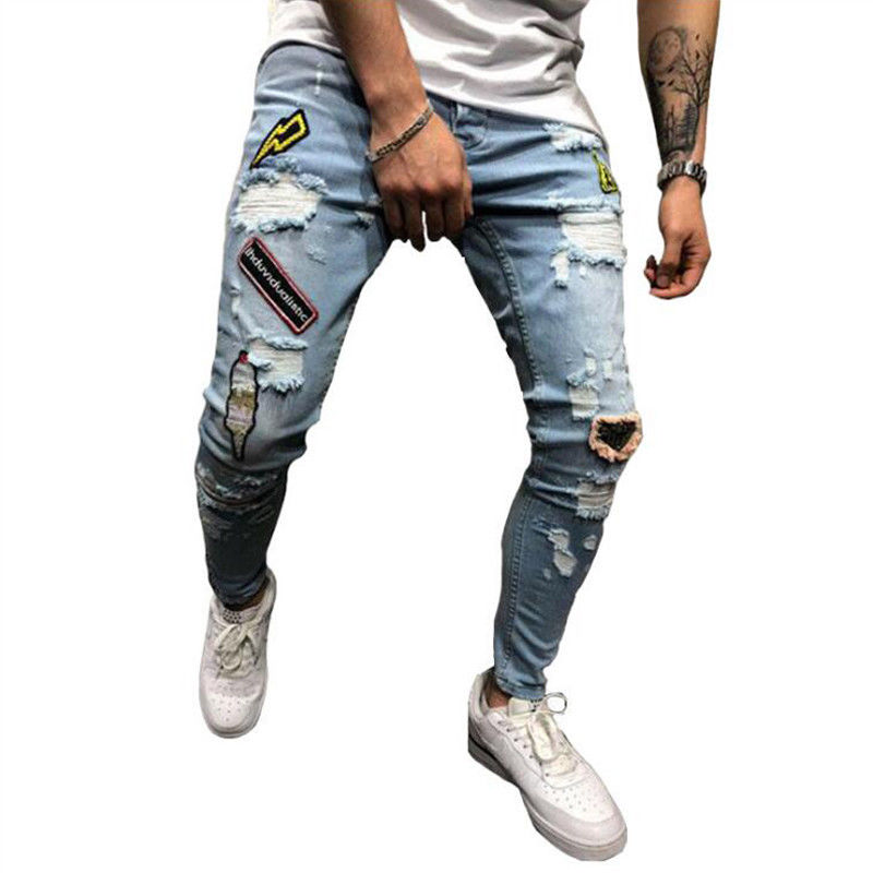 New Fashion Men's Jeans Patchwork Spliced Ripped Denim Jeans Male Straight Slim Patch Beggar Hole Silm Pants Print Jeans