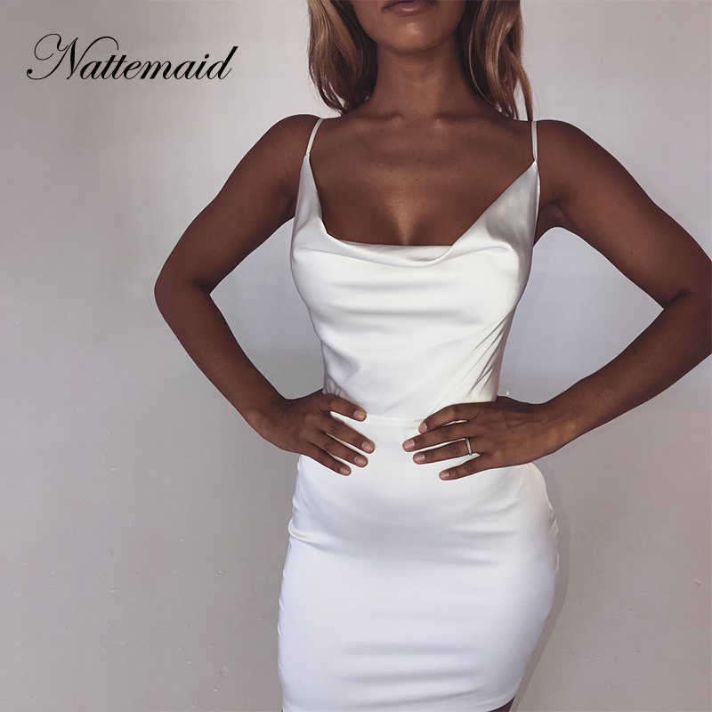 75093bf9fe1 NATTEMAID Backless Strapless Satin Bodycon Dresses Women Mini Clubwear Zip Bandage  Dress Summer Club Sexy White