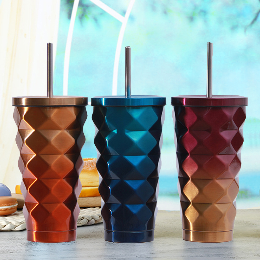 Coffee Mug Creative Thermo Cup Stainless Steel Tea Mug With Lid  Colorful Vacuum Flask Metal Cup Straw Milk Tumbler  Caneca