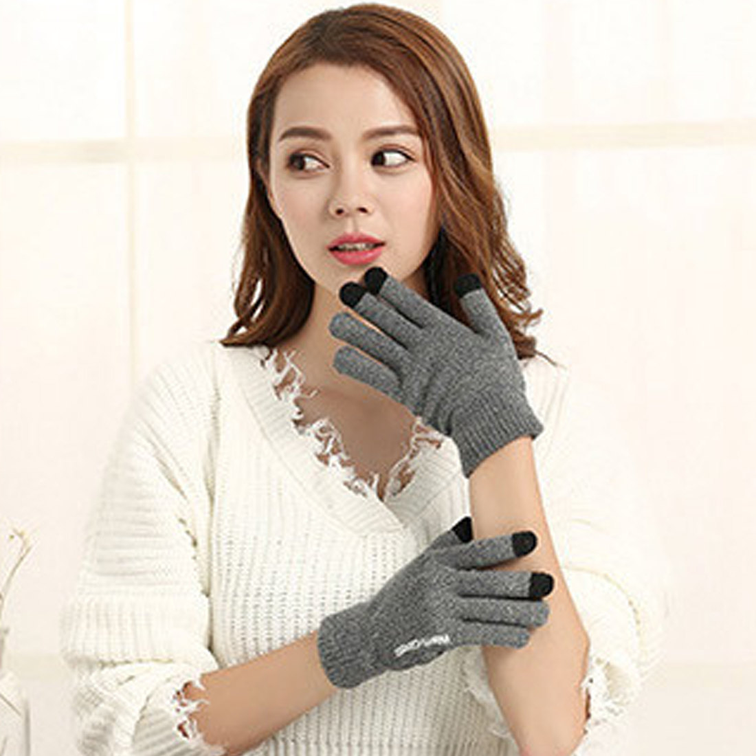 Fashion Rubber Gloves Casual Gloves Autumn And Winter Wool Plus Velvet Slip Warm Couple Models Knit Touch Screen Gloves in Men 39 s Gloves from Apparel Accessories