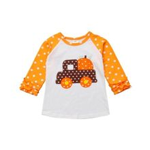 Kids Baby Girls Top T-Shirt Ruffle Sleeve Halloween Shirts Pumpkin T-shirt Cute