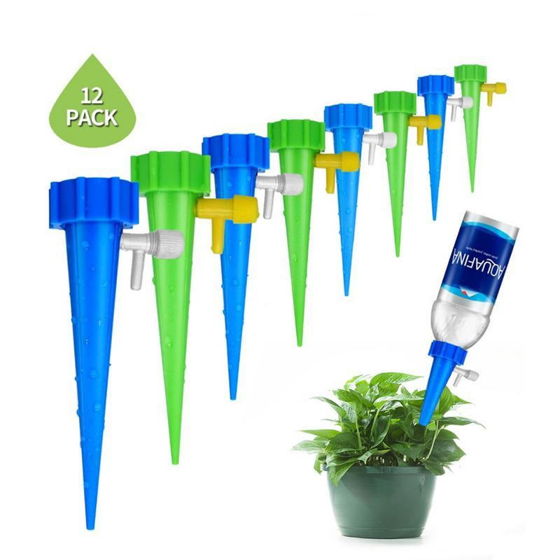 12pcs/set Plant Water Dispenser Automatic Watering Nail System Adjustable Water Flow Drip Irrigation Diy Watering Equipment Kit Warm And Windproof