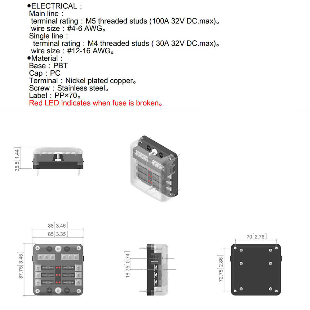 small resolution of  universal 6 way led blade fuse box with negative bus bar car automotive marine 12v