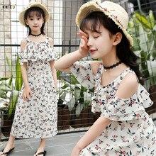 14f7b3d2b6e5 Vestido de playa bohemio de verano princesa vestidos sin tirantes con  estampado de flores para Niñas Ropa de chifón para niños 5.