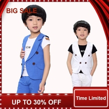 Baby Suits Double Breasted Kids Clothes Set 2-10Years Gentle Boys Prom suits Summer Children Garment Blue/white