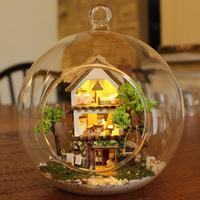 Wooden Handmade Model Gift Toy DIY Island Forest Home, Window Showcase Dream Mini House Glass Medium Ball Lodge