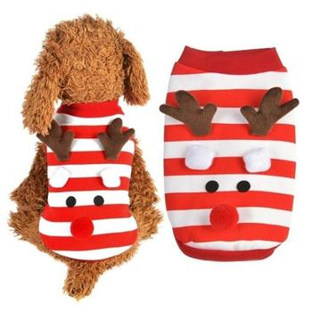 Dog Red Comfortable Cute Pet Christmas Coat Small Clothes Patchwork Soft