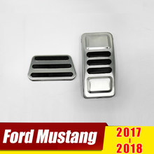 For Ford Mustang 2017 2018 Stainless Steel Car Accelerator GAS Pedal Brake Pedals Non Slip Cover Case Pads Trim Accessories(China)