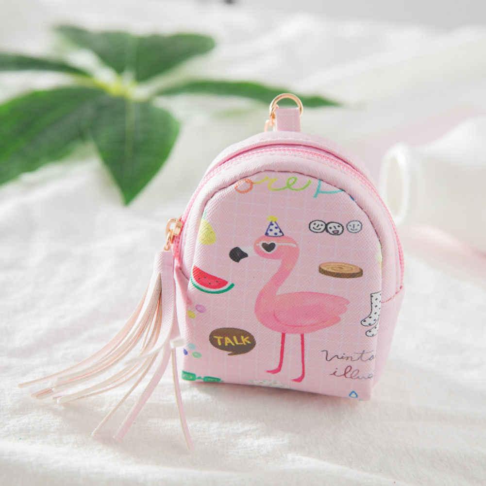 Leuke Vrouwen Mini Coin Kwasten Flamingo Wallet Card Purse Bag Keys Pouch Gift