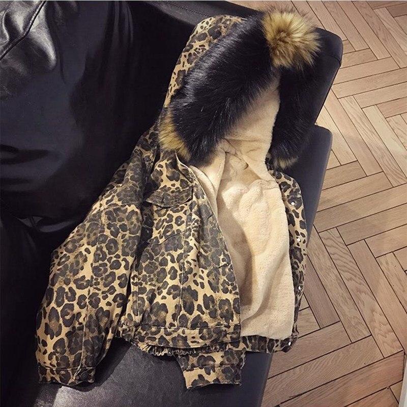 Femmes hiver mode léopard chaud laine d'agneau Denim veste courte épaisse grande fourrure à capuche Parka polaire Jeans veste
