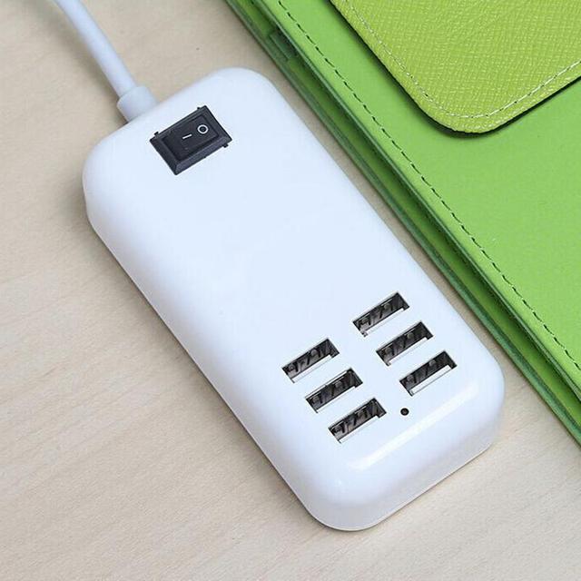6-יציאת טעינת שקע נסיעות רב-יציאת מהיר מטען מתאם USB חכם שקע USB נסיעות ניידת טלפון Tablet