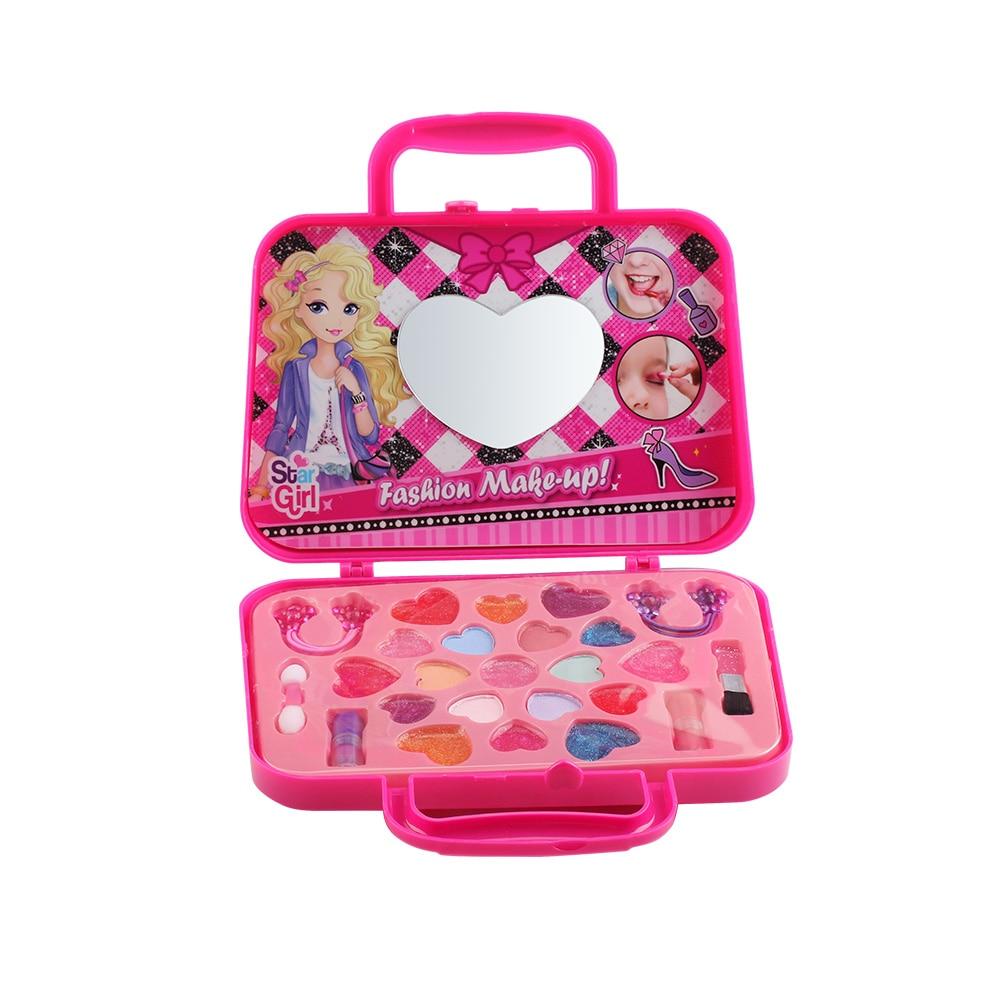 Children Cosmetic Makeup Sets 13 Pcs Lip Gloss+Eye Shadow+Blusher Brush Princess Safe Non-Toxic Cute Beauty Toy Girls Gift TSLM1