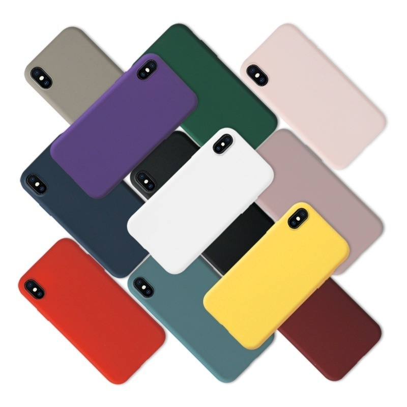 Matte Phone Case For iPhone 7 Plus 6 6s 8 X XR XS MAX Simple Solid Color Ultrathin Soft TPU Cases Candy Color Back Cover