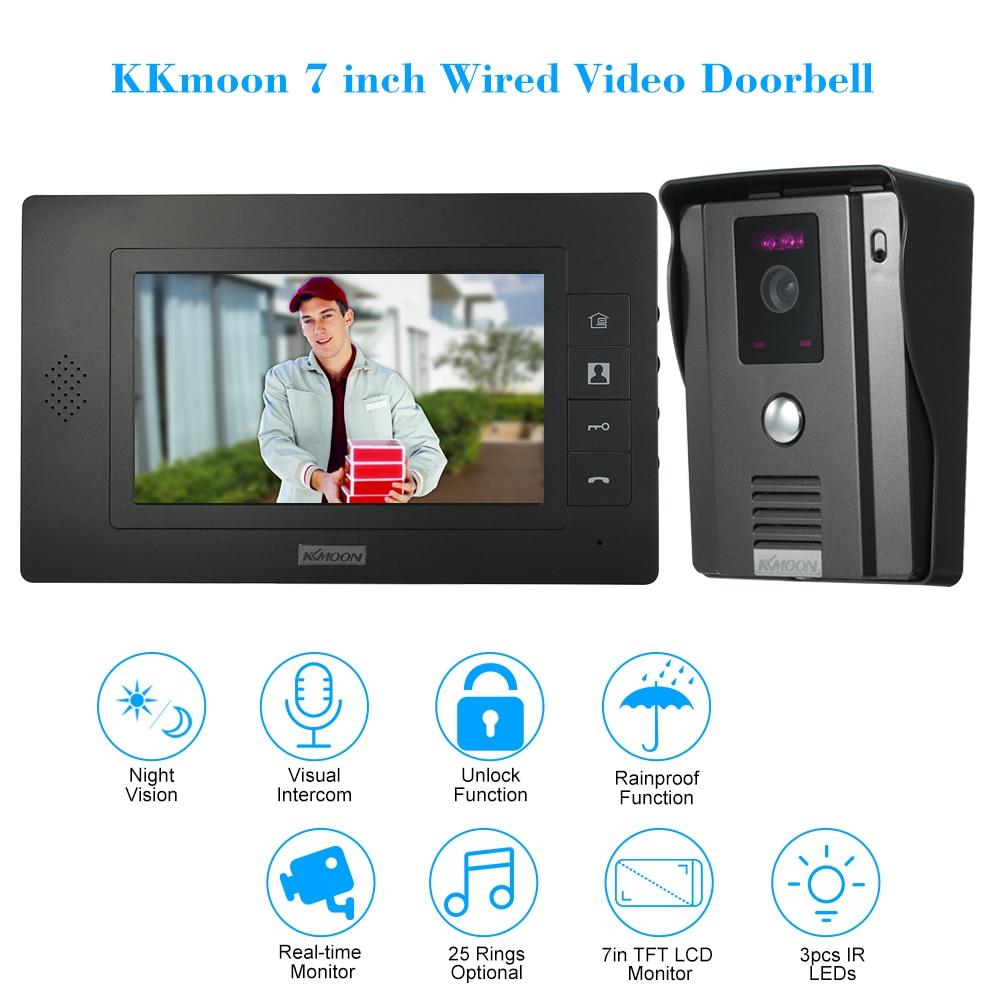 Kkmoon 7'' Wired Video Doorbell With Visual Two-way Audio Intercom Ir-cut Night Vision Rainproof Remote Unlock Video Door Phone
