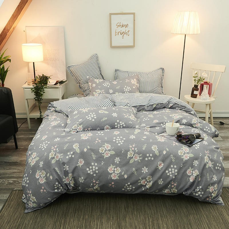 Pastoral Gray Floral High QualityComforter Bedding Sets Of Four Quilt Cover Bed Sheet Pillowcase King Queen Full Twin Size