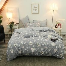 Pastoral Gray Floral High QualityComforter Bedding Sets Of Four Quilt Cover Bed Sheet Pillowcase Sets King Queen Full Twin Size(China)