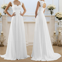 Wedding Party V Neck White Cocktail Sleeveless Gown Womens Plus Size Long Dress