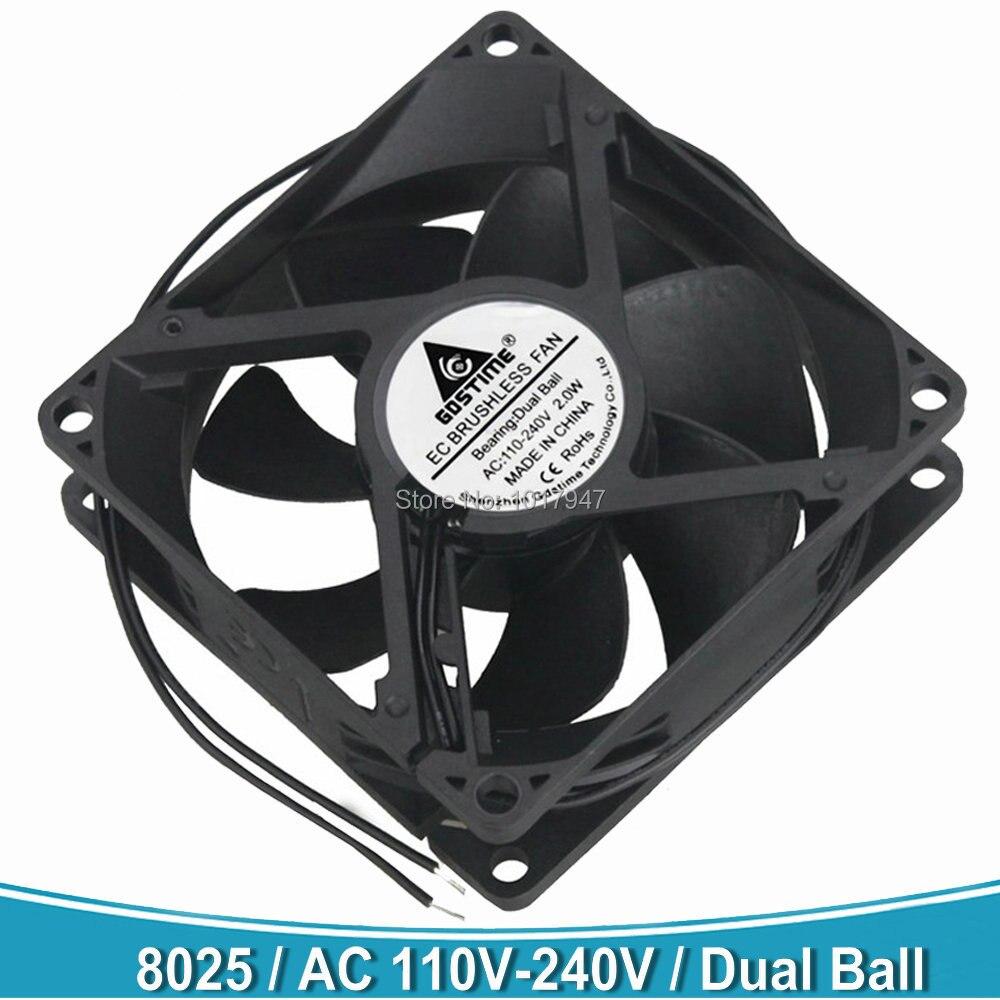 10 PCS Lot Gdstime Brushless EC Cooling Fan AC 110V 120V 220V 240V 8cm DC Dual