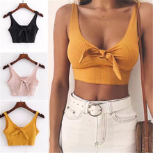 Ribbed Bow Tie Camisole Tank Tops Women Summer Basic Crop To